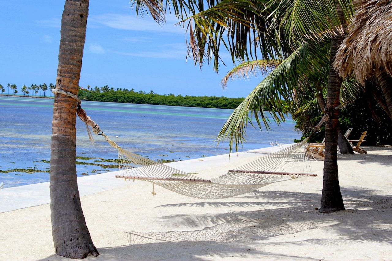 Beach Hammock on the ocean in Islamorada in the Florida Keys