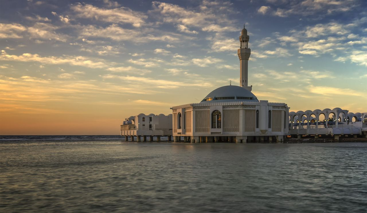 A floating mosque at Jeddah Corniche, Jeddah, Saudi Arabia