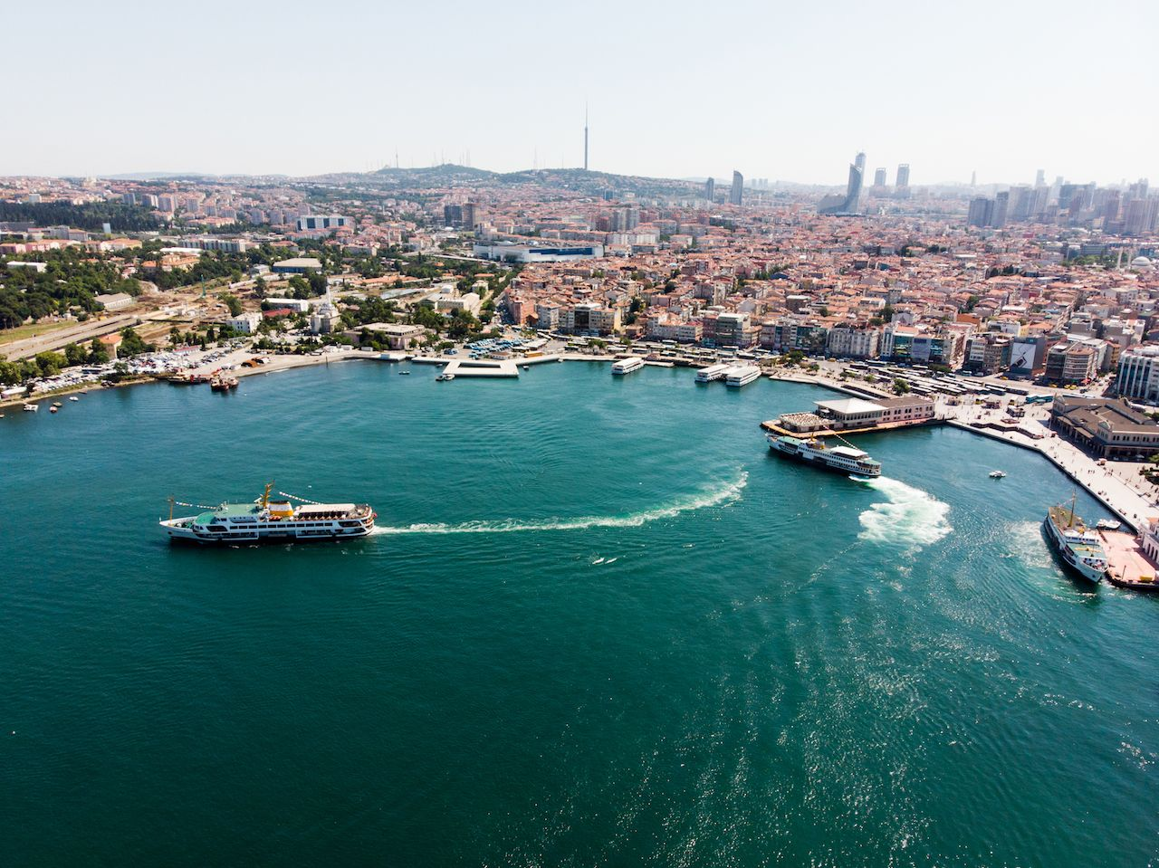 Aerial Drone View of Kadikoy Seaside in Istanbul