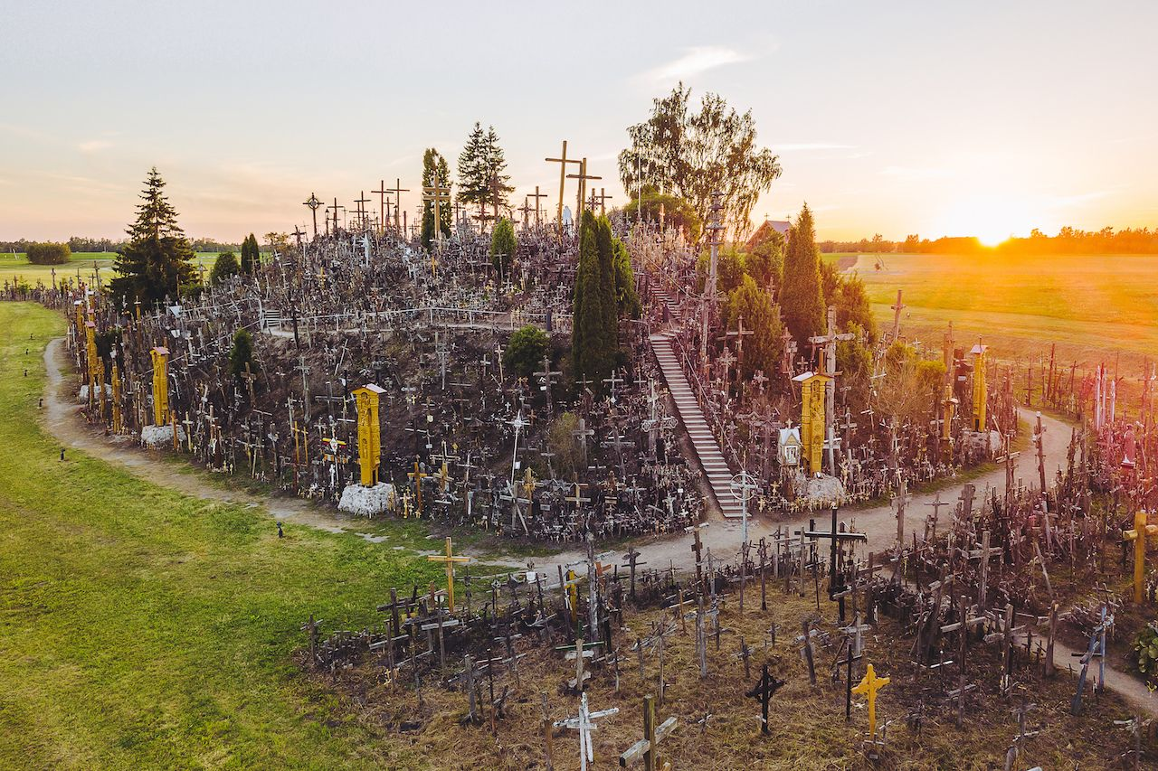 Aerial view of the Hill of Crosses in Lithuania