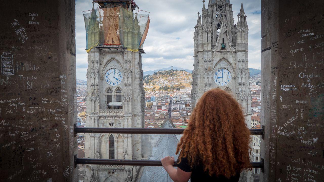 Basílica del Voto Nacional lookout in Quito, Ecuador
