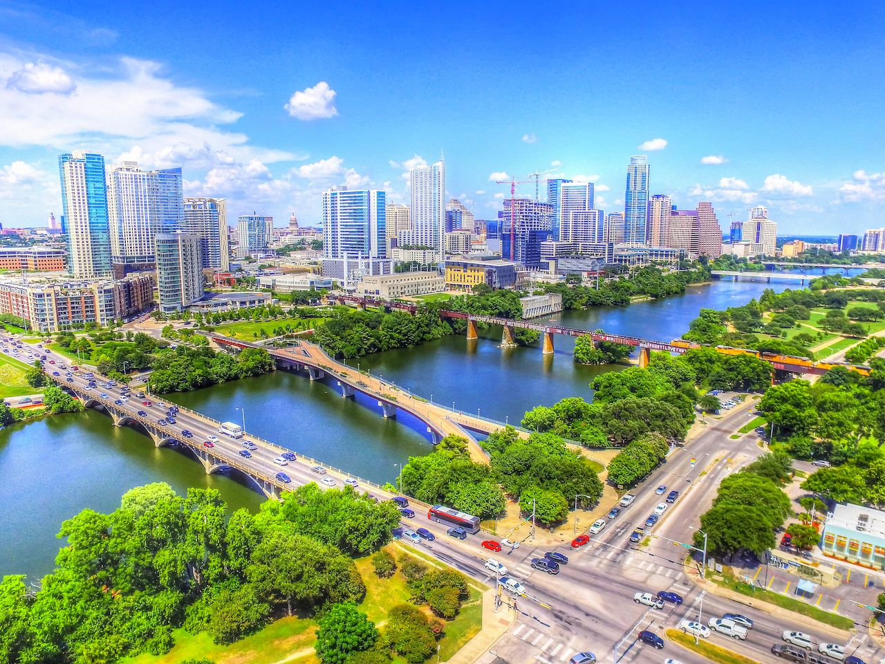 Beautiful aerial view of the Austin cityscape
