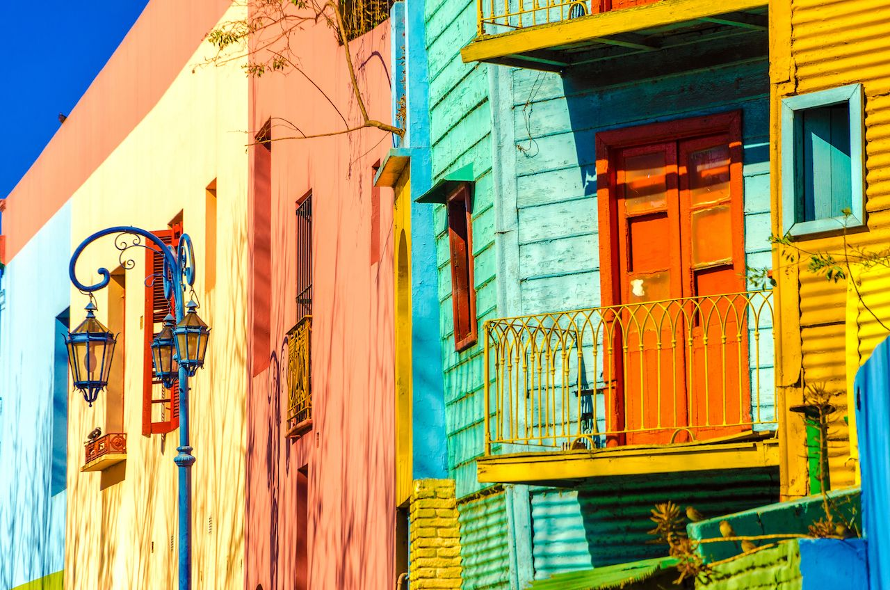 Bright colored houses of Caminito in La Boca neighborhood of Buenos Aires