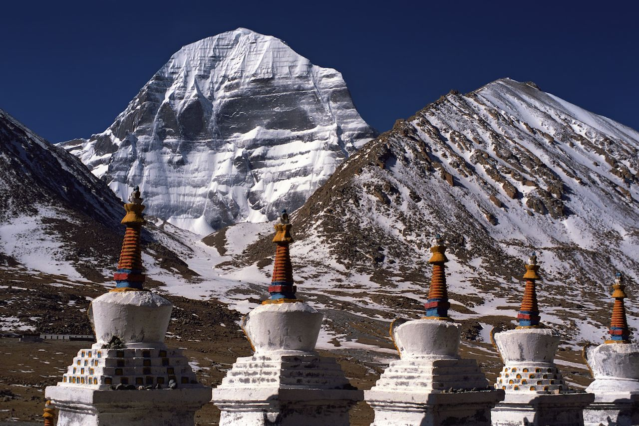 Buddhist ritual structures Stupas at the North Face of Mount Kailash in Western Tibet
