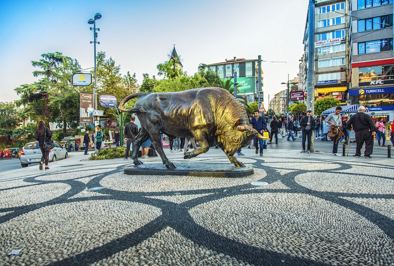 Bull statue at the Kadikoy square in Istanbul