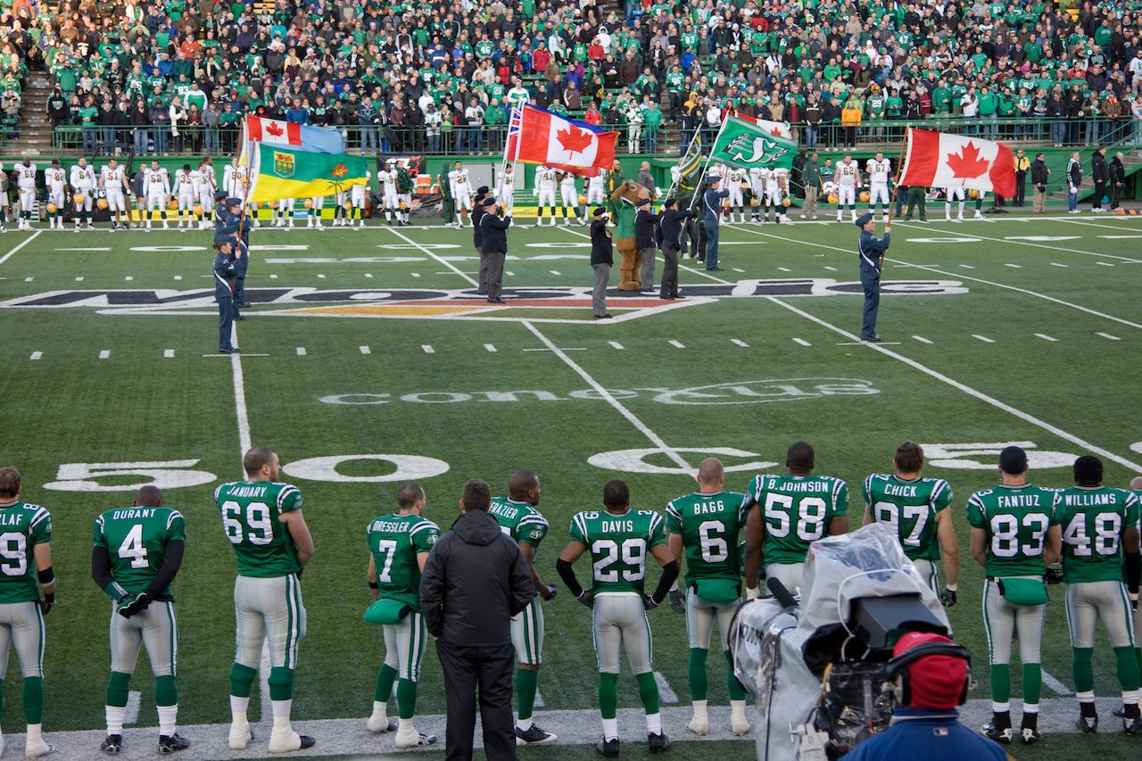 Canadian Football League game featuring the Saskatchewan Roughriders and Edmonton Eskimoes