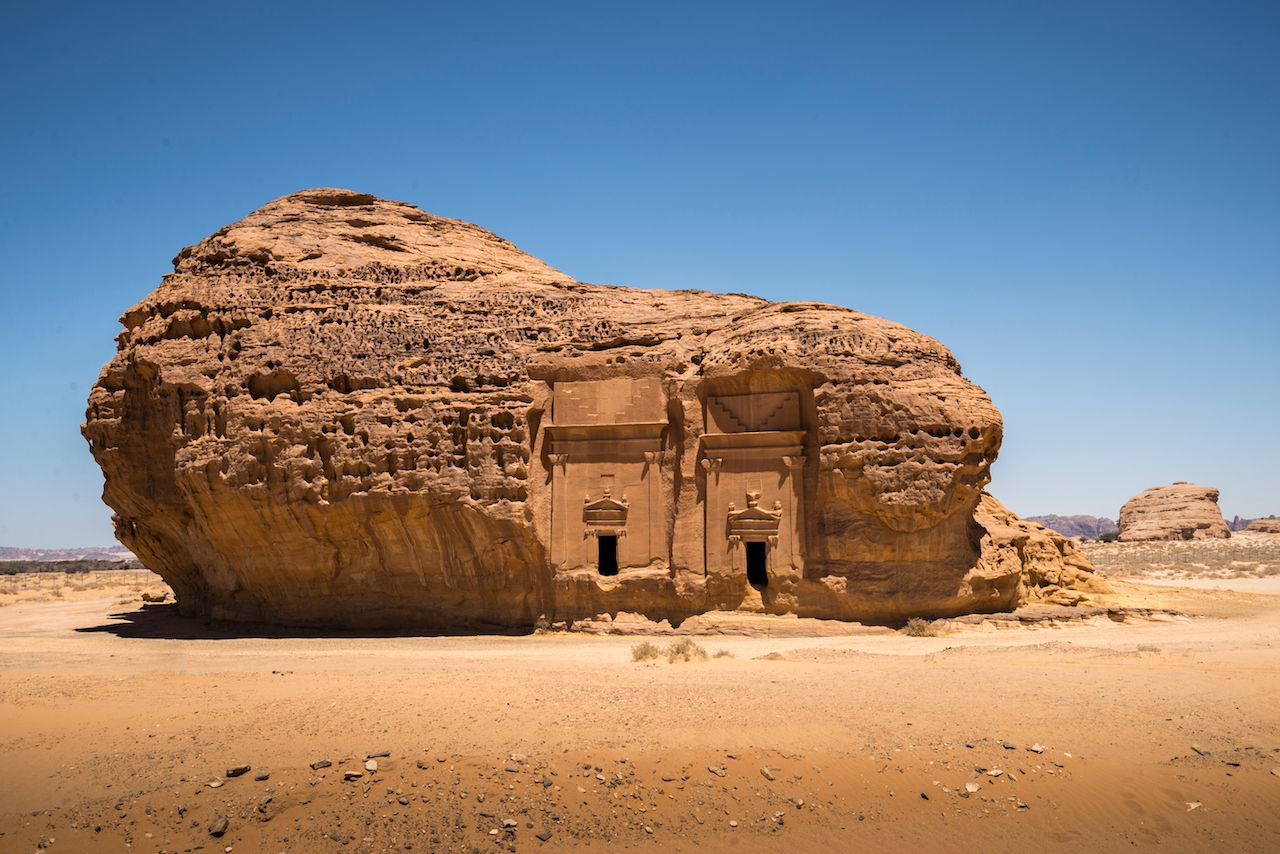 Carved Al Ula Rock in the Sauda Arabian desert