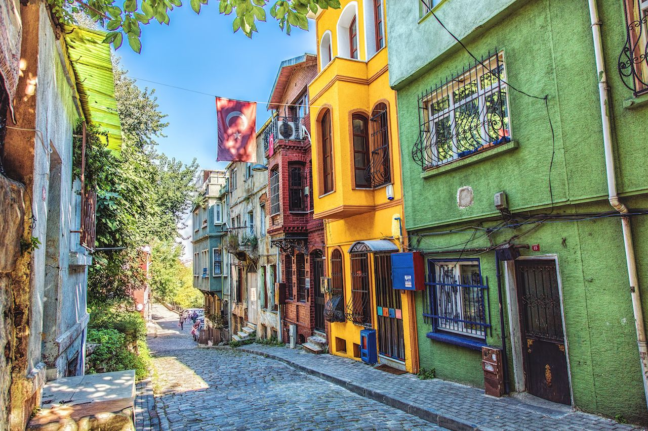 Colorful houses at Fener district at Balat area in Istanbul