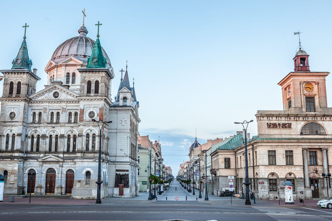 Elegant buildings on Piotrkowska Street Lodz, Poland
