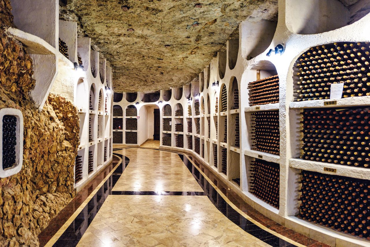 Famous wine cellar in Cricova, Moldova