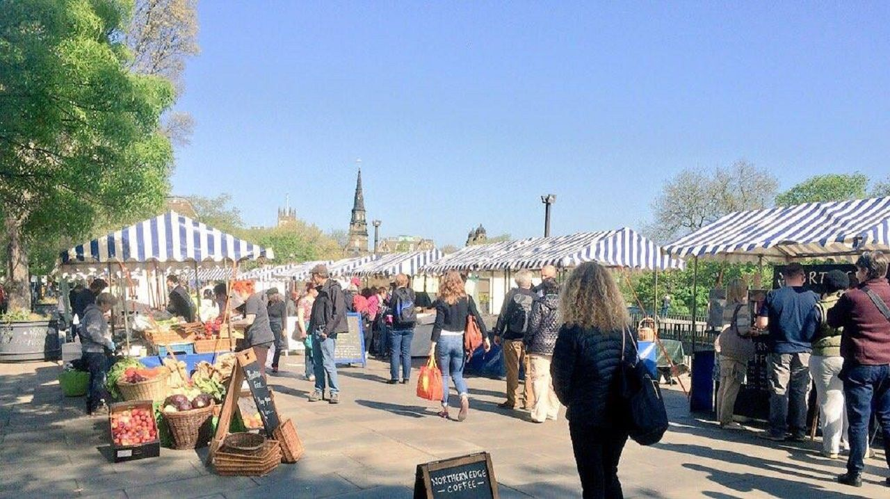 Farmers market in Edinburgh, Scotland