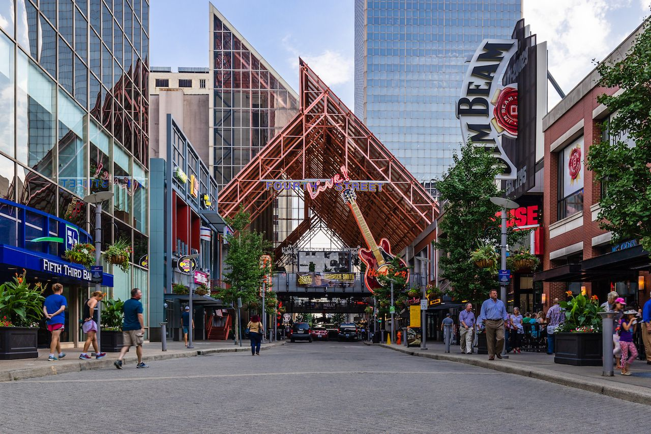 Fourth Street Live is a part of downtown Louisville that features bars, stores, and restaurants