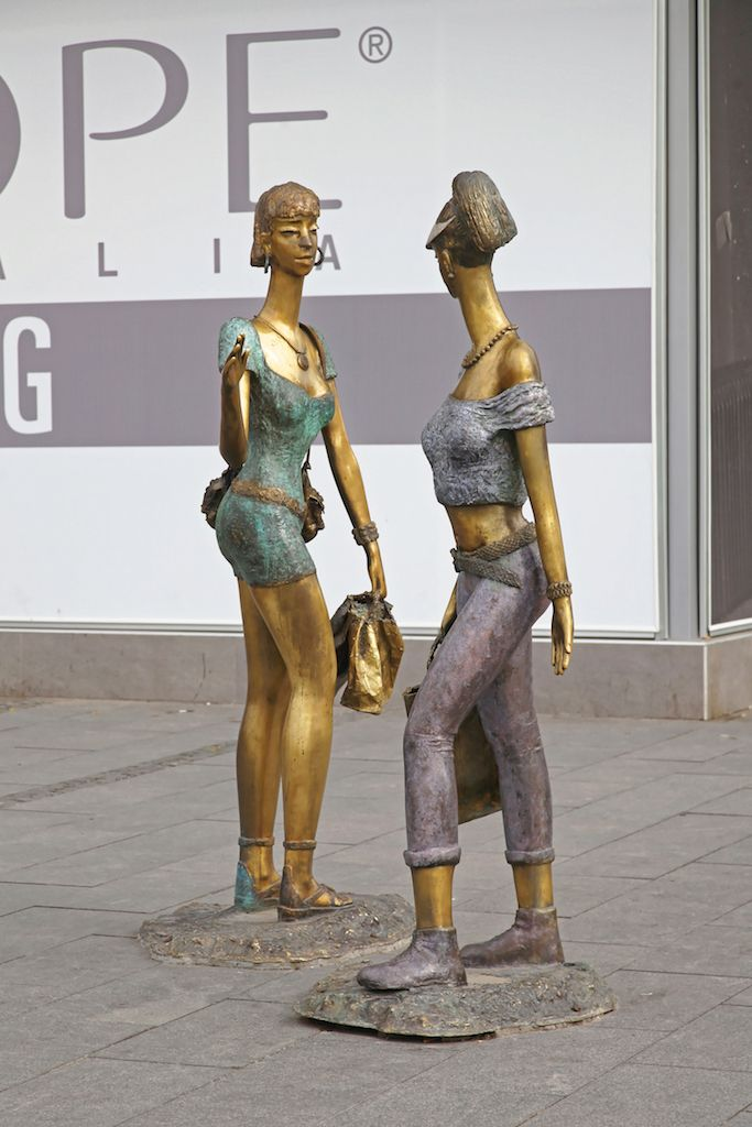 Girlfriends Shoppers Statues at Macedonia Square in Skopje, Macedonia