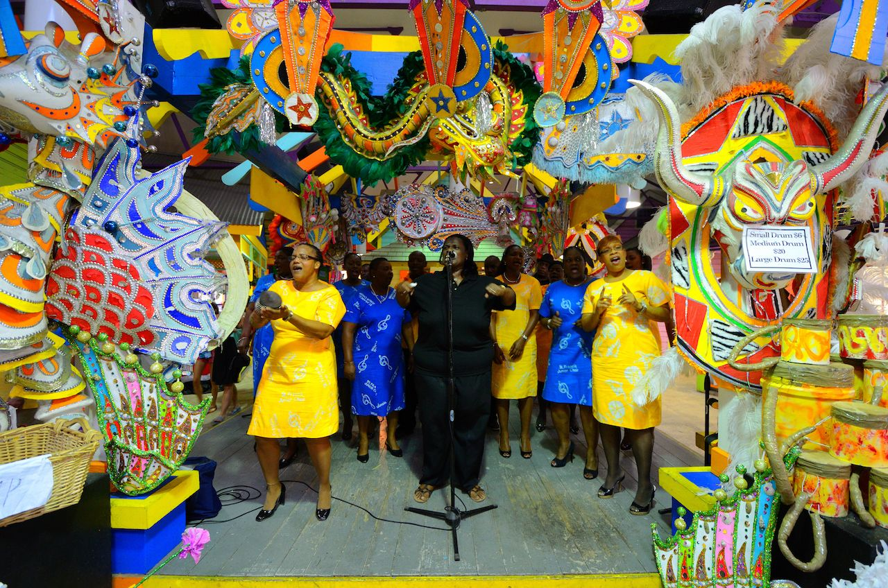 Gospel singers in Junkanoo fashion in Nassau, Bahamas, during New Years