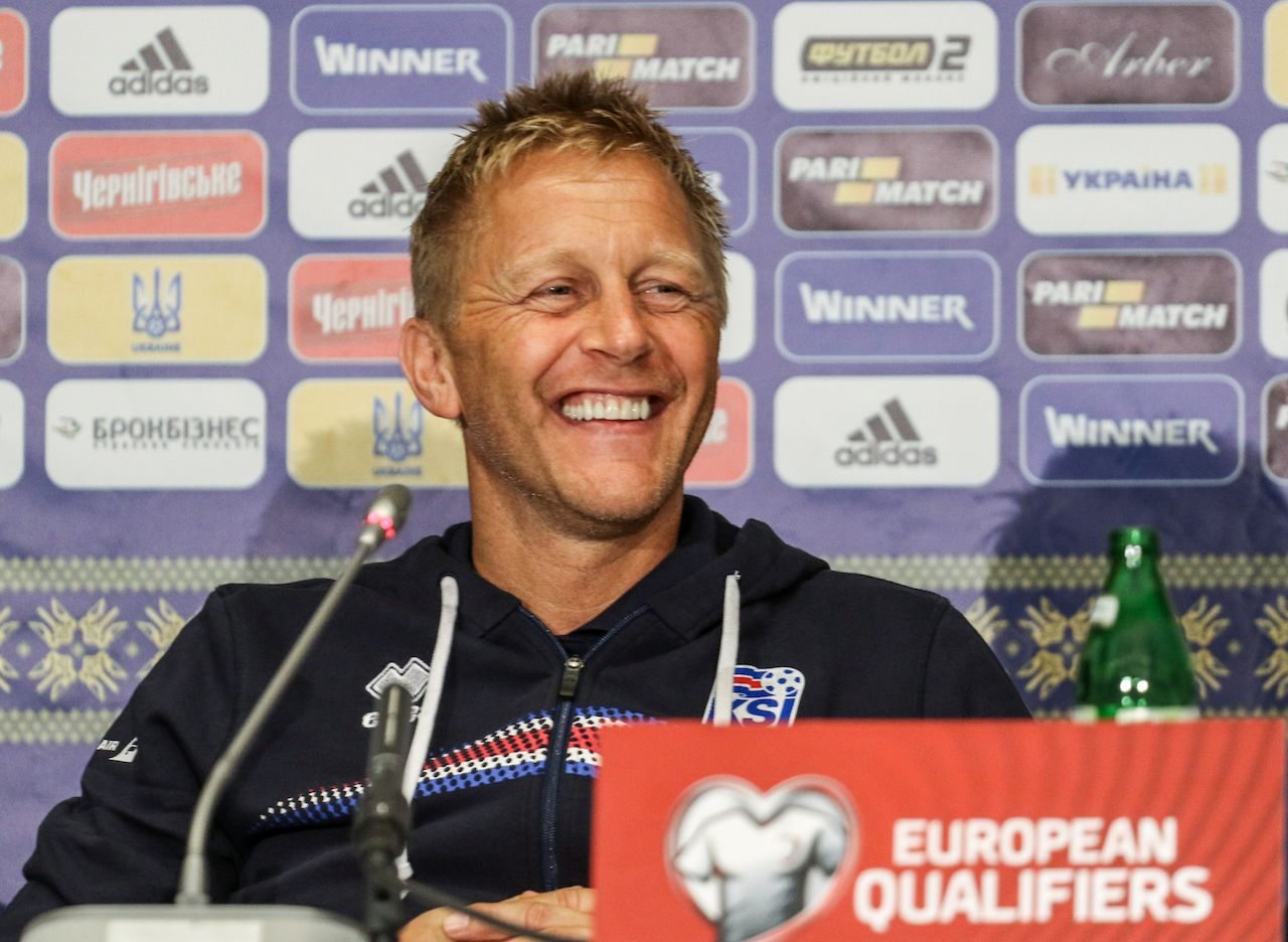 Heimir Hallgrimsson at a FIFA World Cup qualifying 2018