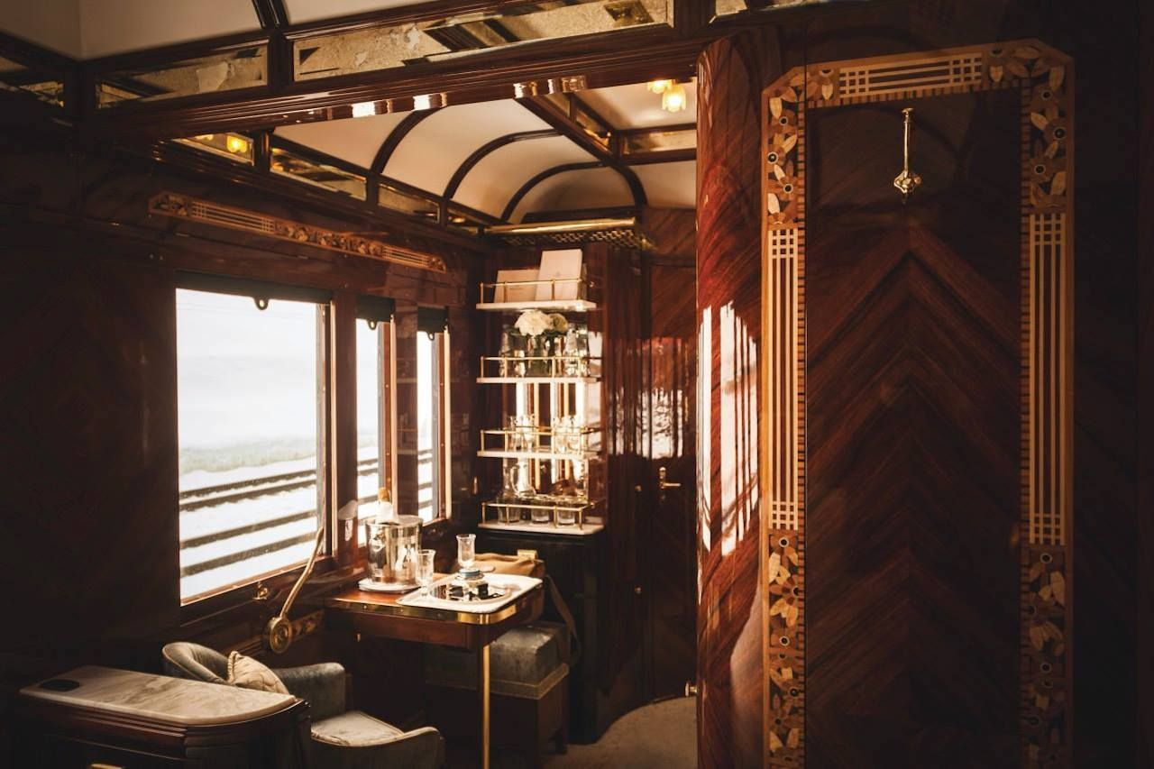 Inside a car on London Venice Simplon Orient Express