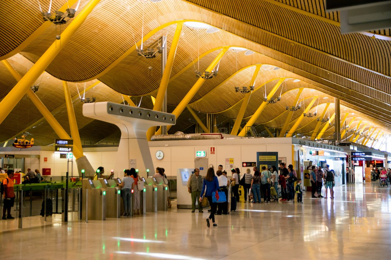 Inside the Adolfo Suarez Madrid Barajas Airport in Spain