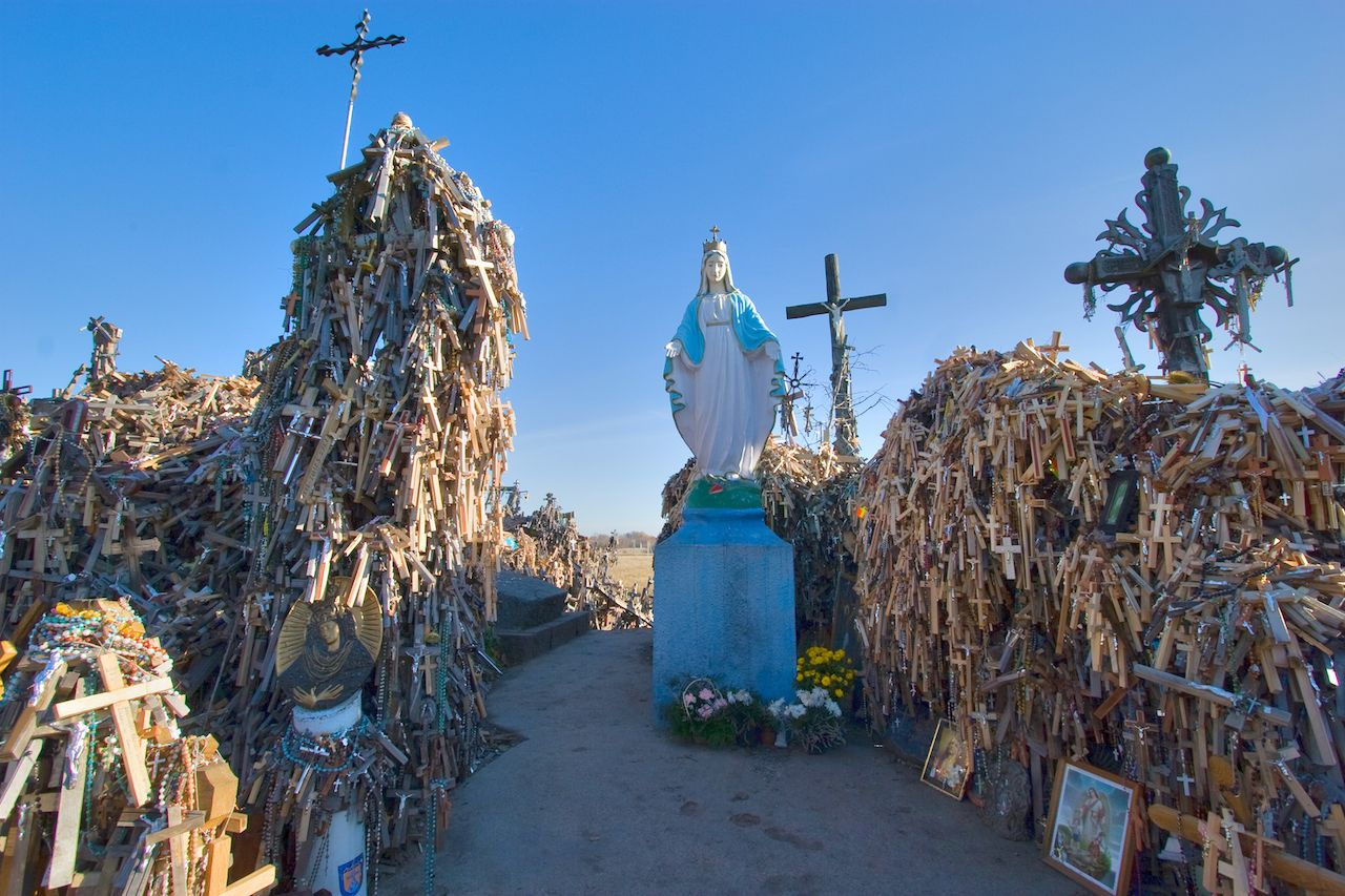Inside the Hill of Crosses pilgramage site in Lithuania