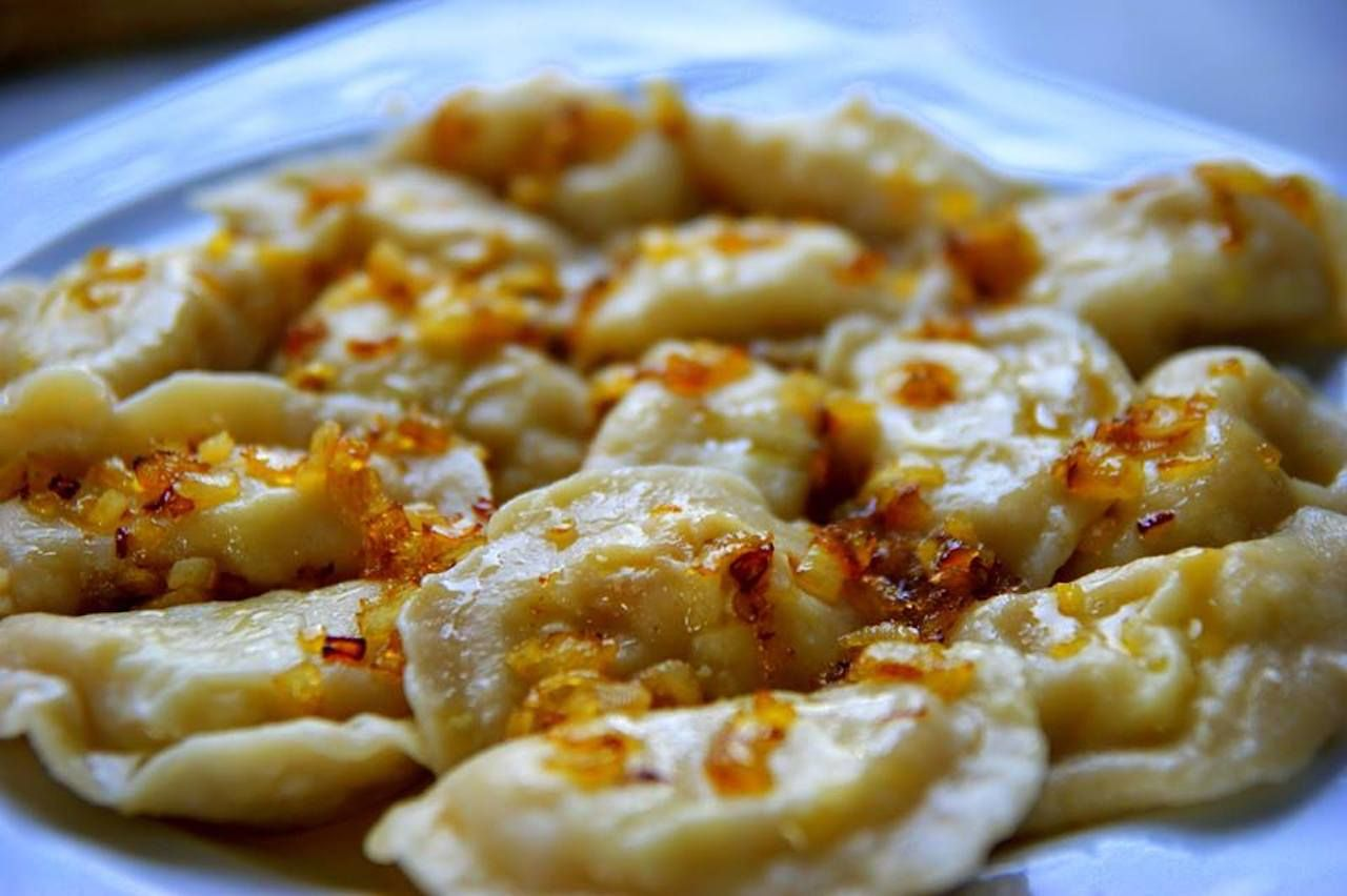 Plate of pierogi from the Koperek Bistro in Lodz, Poland