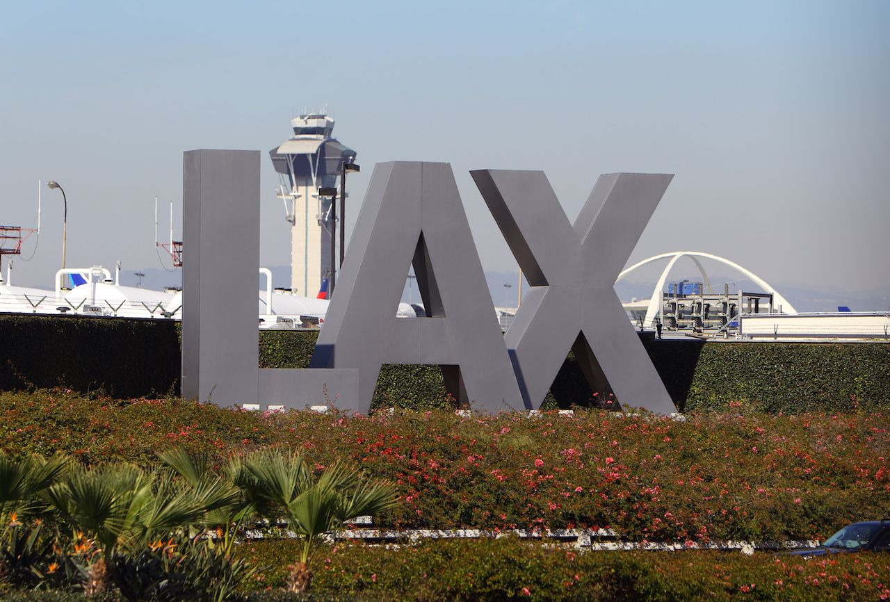 LAX sign outside the Los Angeles airport