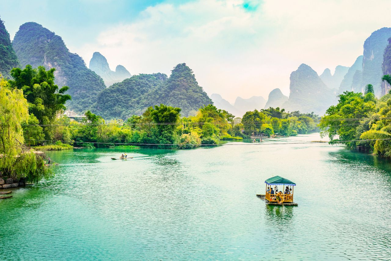 Landscape of Guilin, Li River, and karst mountains near Yangshou, China