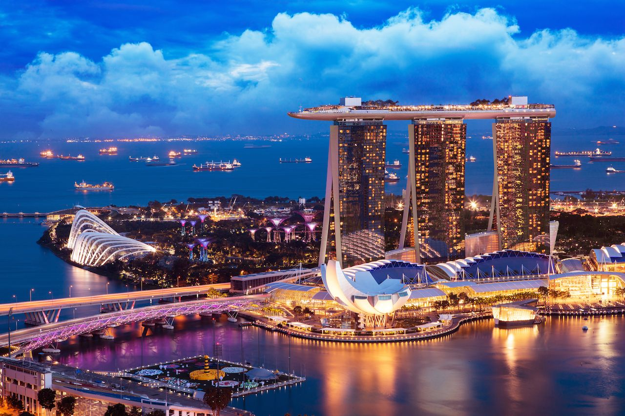 Landscape of Singapore business building around Marina Bay