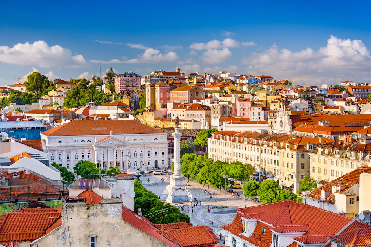 Lisbon, Portugal skyline view over Rossio Square