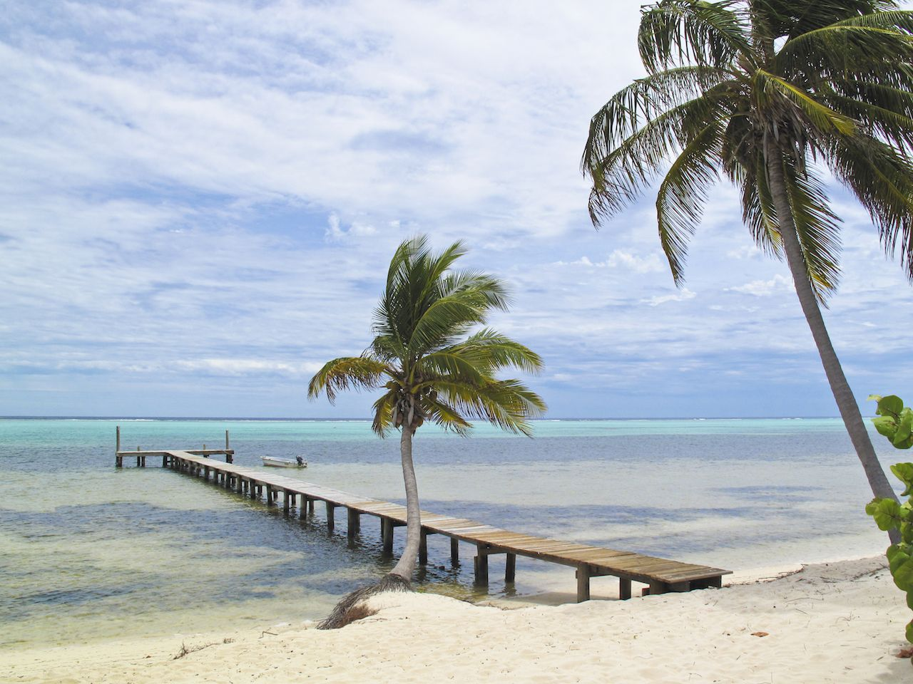 Little Cayman white-sand beach with wooden walkway