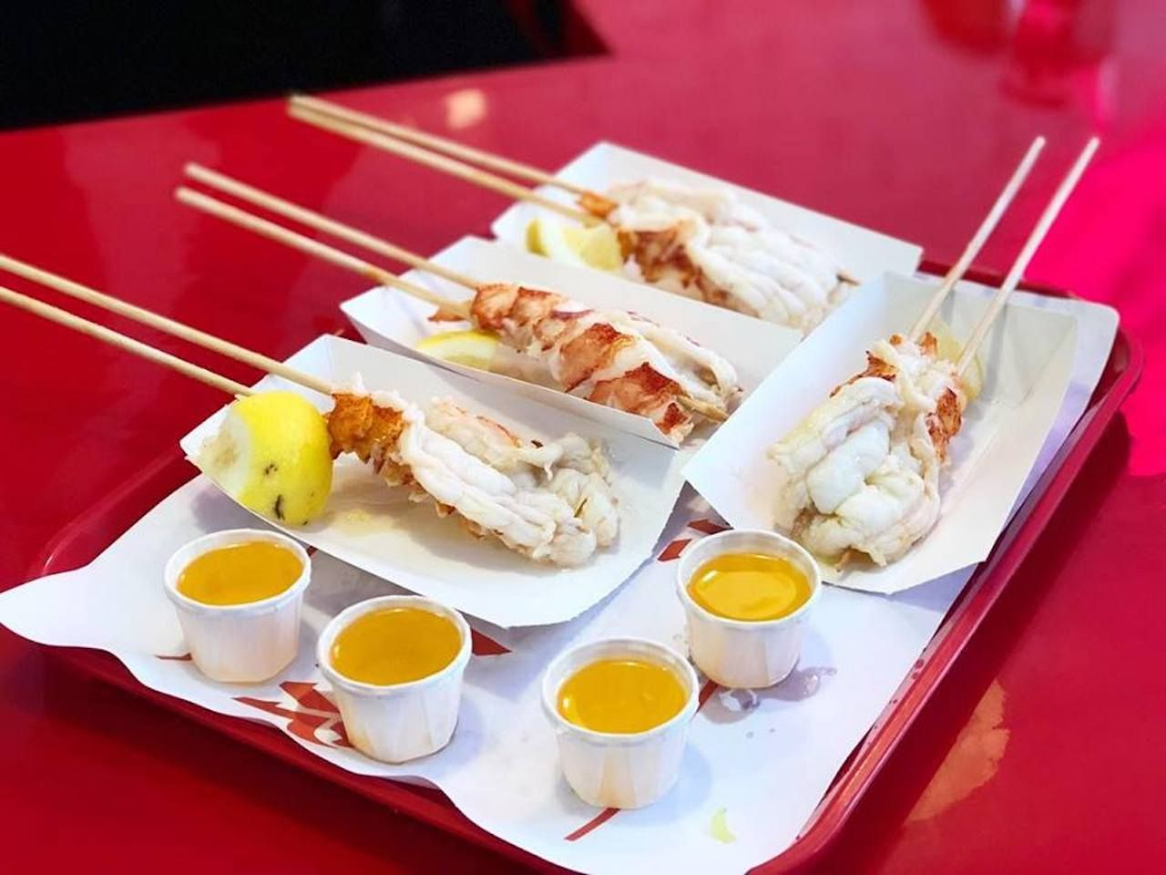 Lobster skewers from the The Highroller Lobster Co. in Maine
