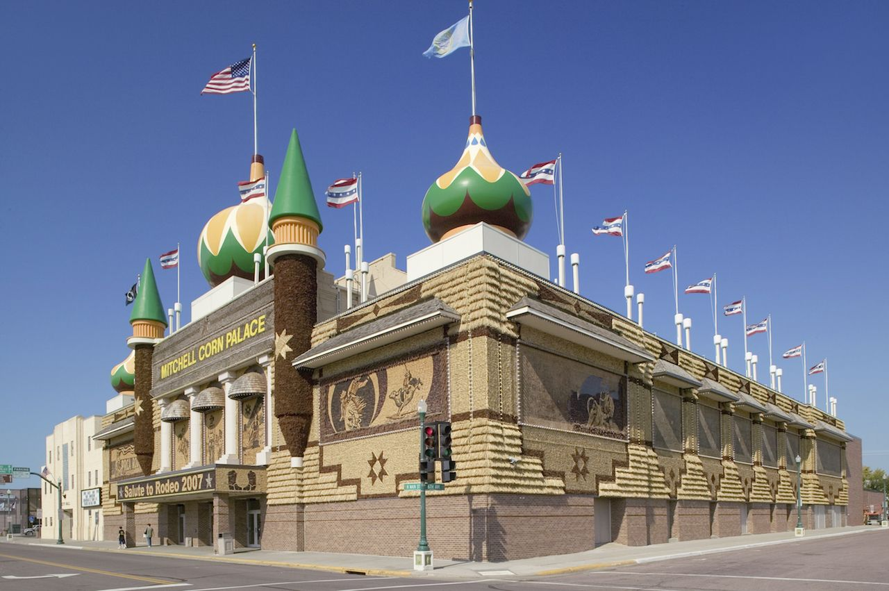 Main Street view of Corn Palace, Mitchell, South Dakota