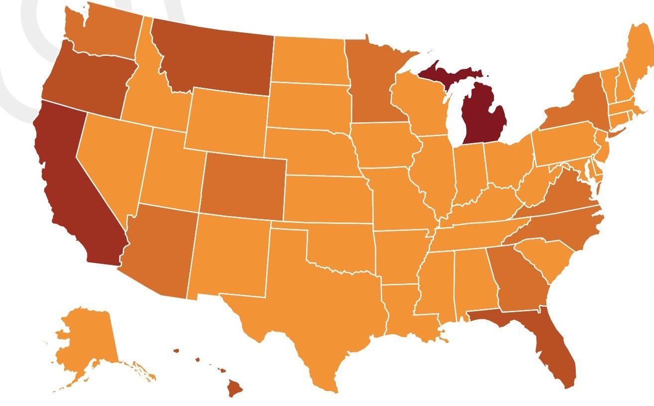 US states Instagram statistics