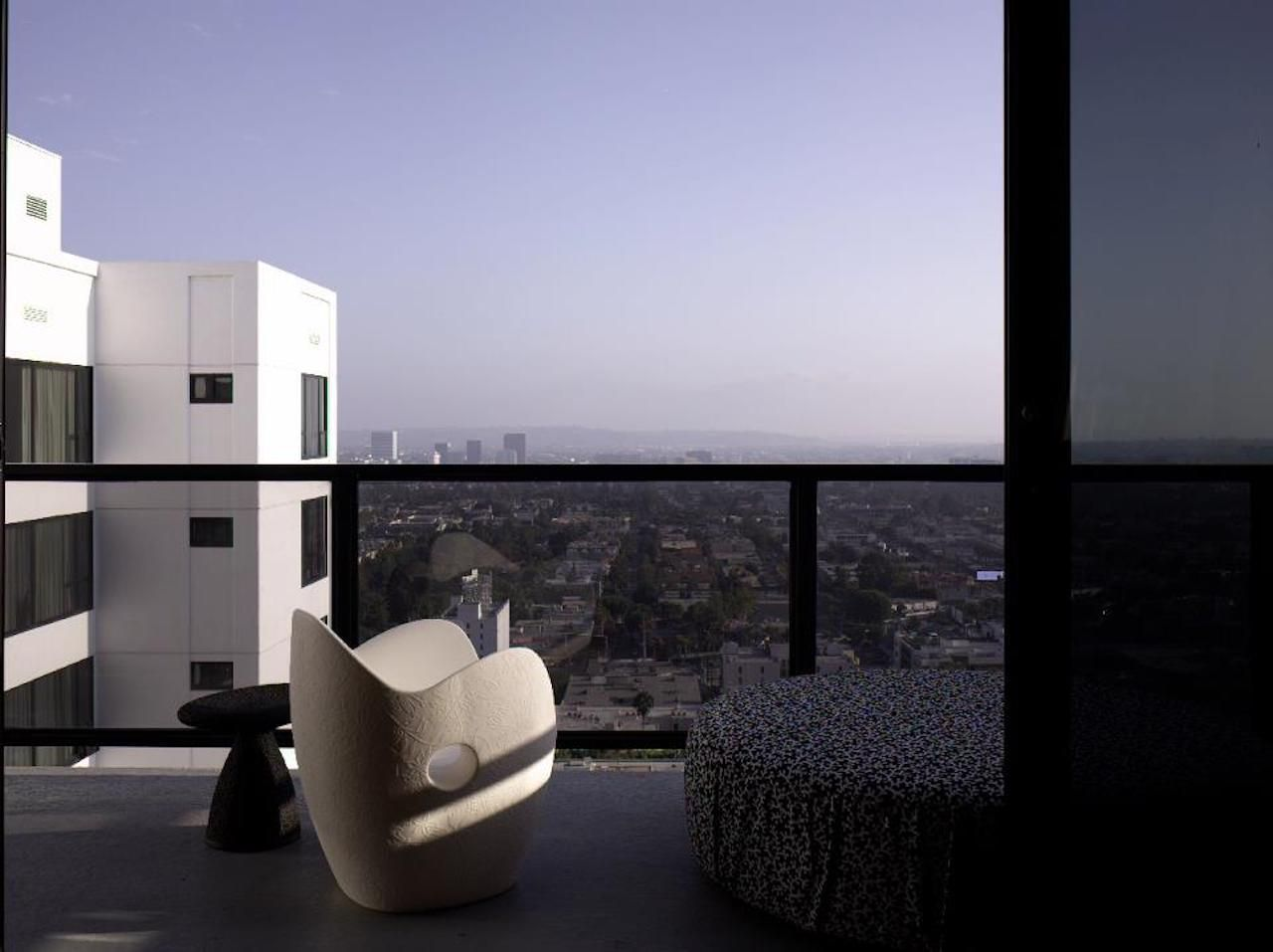 Balcony view from the Mondrian Los Angeles Hotel