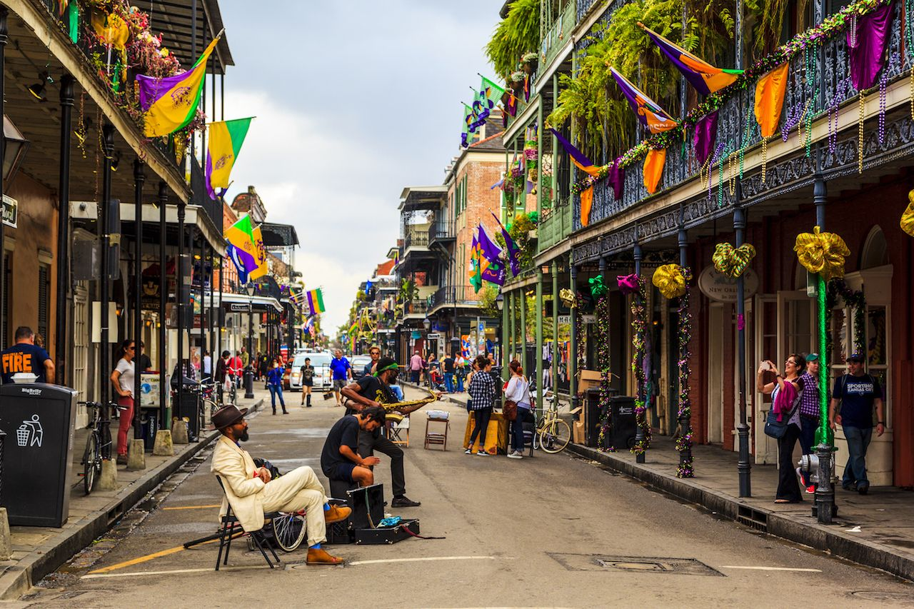New Orleans musicians playing on decorated street