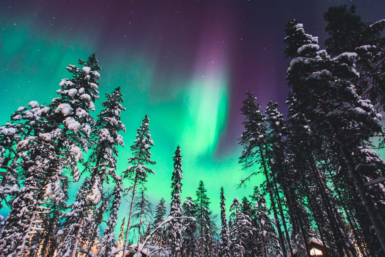 Northern Lights in the night sky Lapland landscape, Norway, Scandinavia