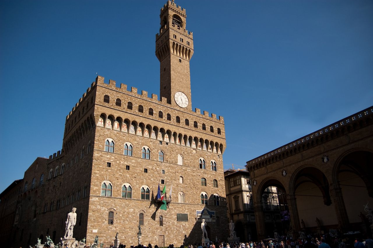 Palazzo Vecchio in Firenze, Firenze, Italy with a beautiful blue sky