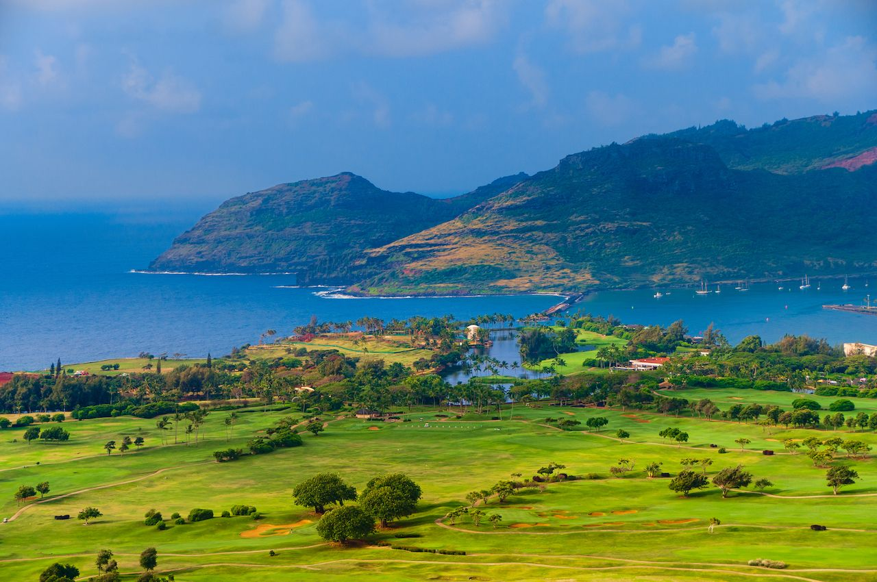 Panoramic aerial view of Nawiliwili Harbor and the Kauai Lagoons Golf Course on Kauai, Hawaii
