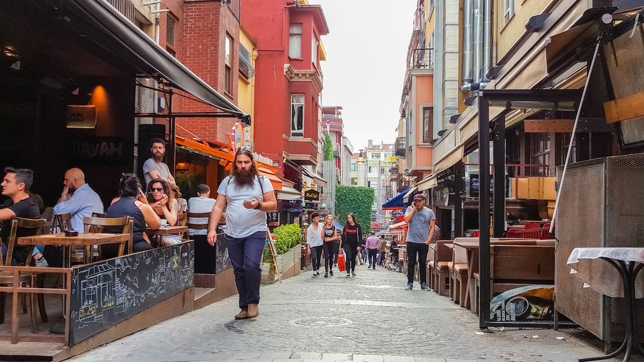 People walking down the street in Kadikoy, Istanbul