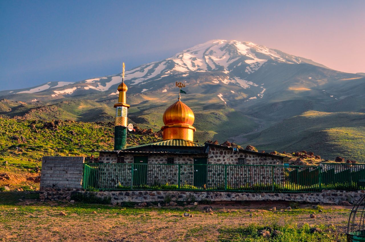 Picturesque mosque underneath Damavand volcano in Iran