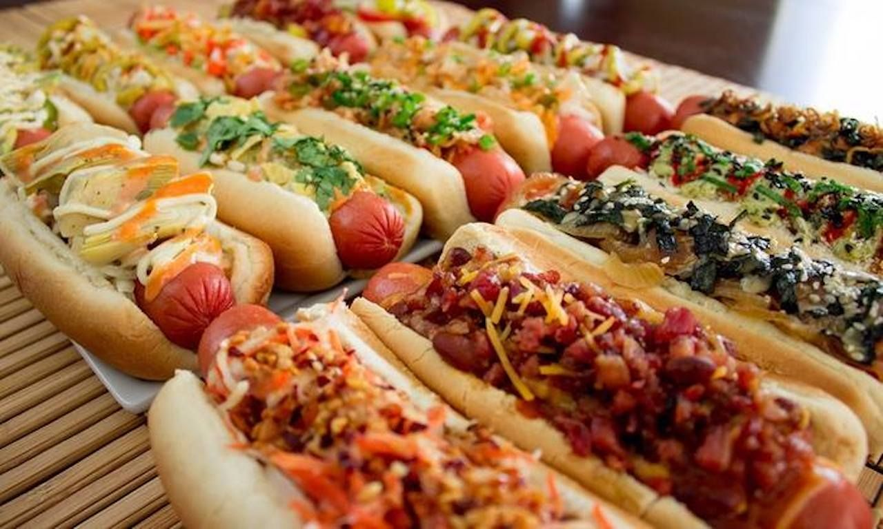 Row of loaded hotdogs from the Ponce City Market food hall