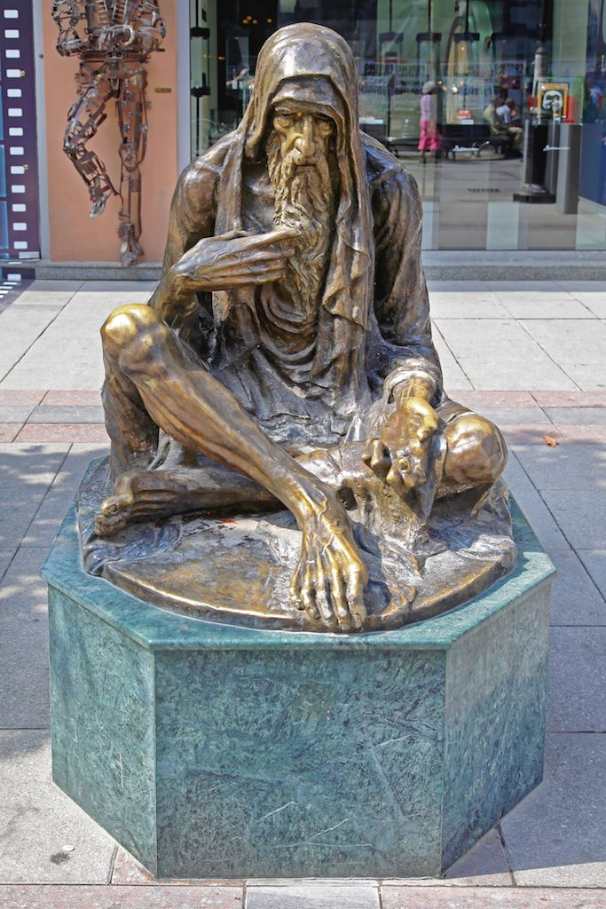 Poor Old Man Bronze Statue in Downtown Skopje, Macedonia