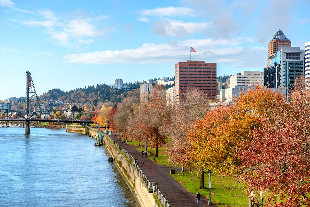 Portland city skyline at autumn, Oregon, USA