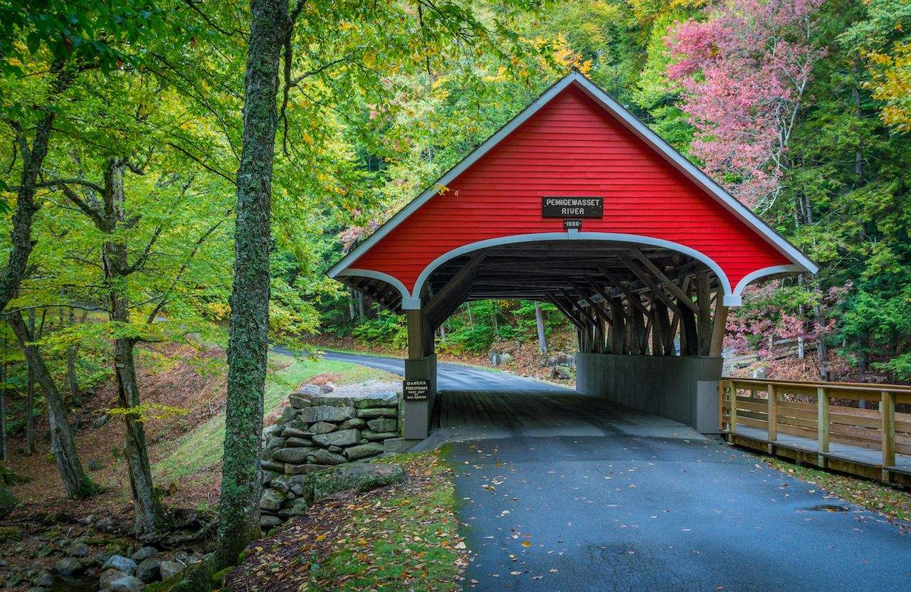 Red covered bridge in the White Mountains of New Hampshire