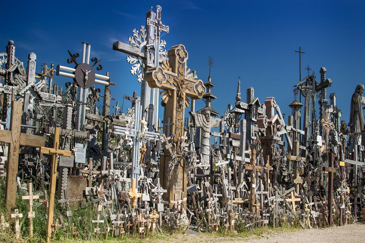 Religious artifacts at the Hill of Crosses in Lithuania