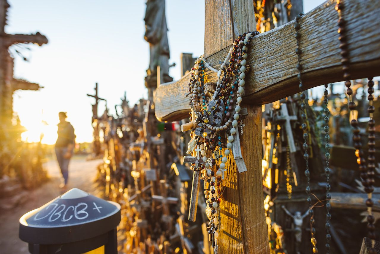 Rosaries and crosses at the Hill of Crosses in Lithuania