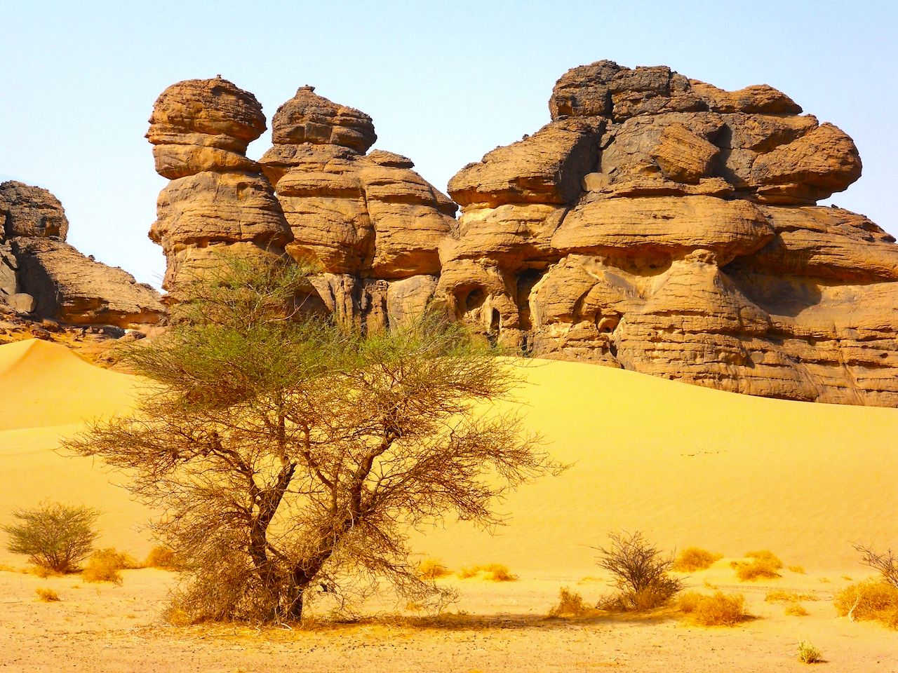 Sandstone formations in the Sahara at the Ennedi Plateau near chad