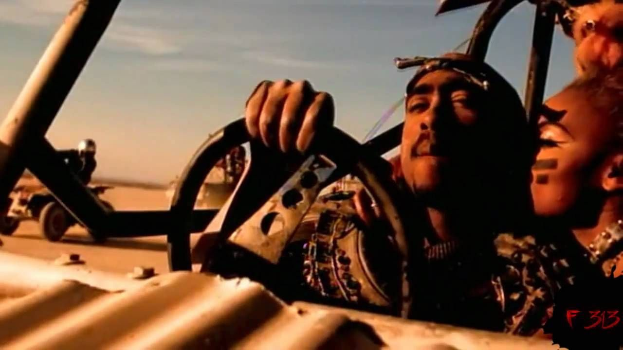 Screenshot of 2pac driving from California Love music video