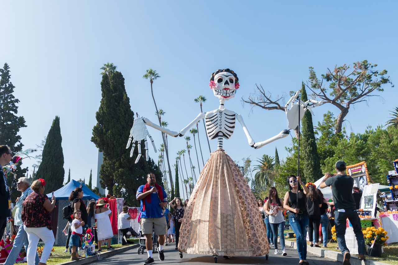 Skeleton sculpture during the Dia de los Muertos celebration at the Hollywood Forever Cemetery