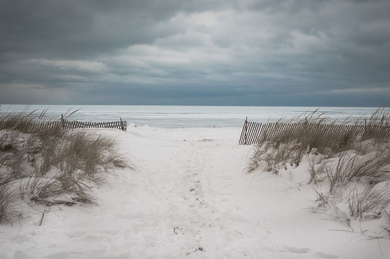 Snow covered beach with wild grass and gloomy clouds