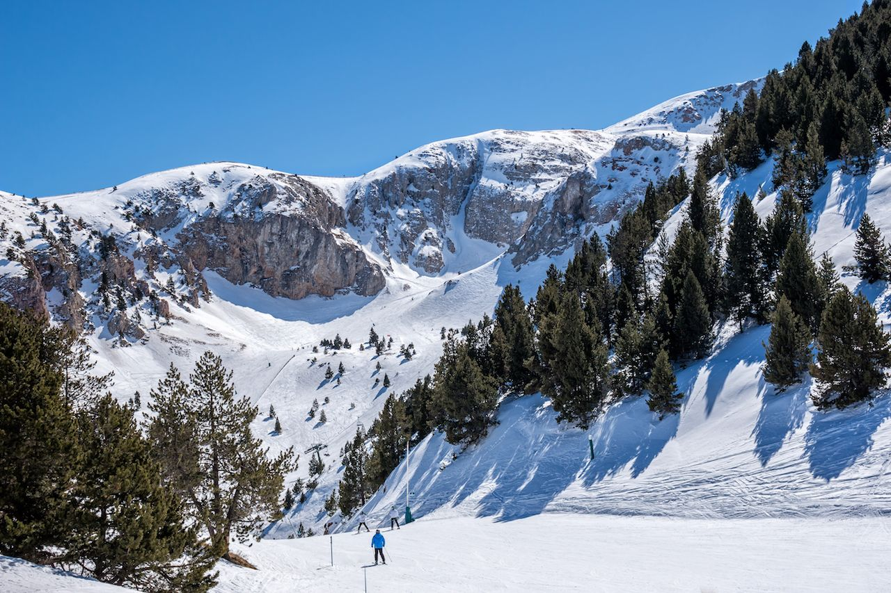 Snowy mountains in Spain at the Masella ski resort