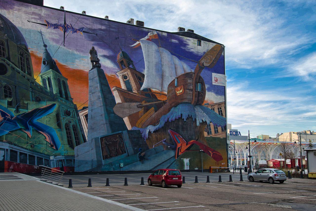 Street art on a wall on Piotrkowska Street, Lodz, Poland